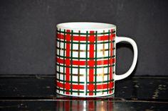 Eddie Bauer Plaid Mug Coffee Tea Vintage Red Green Gold