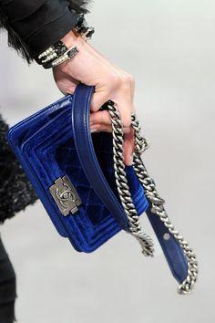 Chanel velvet boy bag.