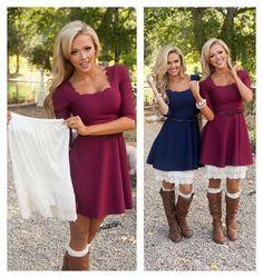 Online boutique. Best outfits. Cream Lace Long Skirt Extender - Modern Vintage Boutique