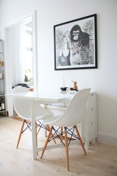 small white dining table by IKEA and Eames chairs. LOVE the print!! (no source unfortunately)