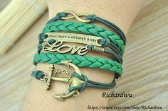 Anchor Love Infinity Moto Bracelet  Green wax cord by Richardwu, $6.99