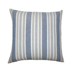 """Get a perfect combination of texture and design with The Pillow Collection Blue Textured Square Throw Pillow (20""""x20""""). The blue striped design on the white background blends well with your decor settings and gives your living space an elegant makeover. Made from cotton material, it has a plush feather fill. All the four sides have a clean knife-edge finish. It also includes a hidden zipper for easy cover removal and cleaning."""