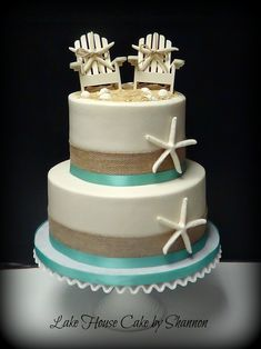 Wedding Cake, Beach themed, burlap, buttercream, starfish, beach chairs seashells sea shells turquoise, sea green, blue, Lake House Cake by Shannon Panama City Beach, FL