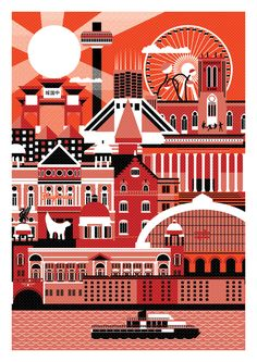 Liverpool landmarks broken down into simple shapes and overlapped. One colour plus black and white.  - Book Local Traders --> https://SnipTask.com