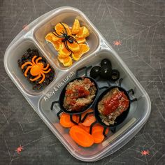 Creepy leftovers packed in @easylunchboxes