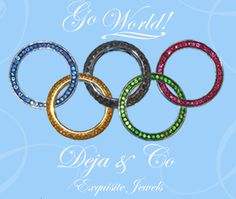 We made this for Facebook in the spirit of the Olympic Games.  They are sapphire, black diamond, ruby, yellow diamond and tsavorite (green garnet) stacker rings!  #olympics #rings #jewelry #stackers #olympic games