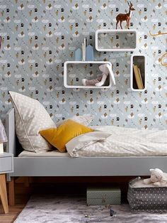 10 Dormitorios infantiles ideales en tonos grises cama laqueada gris