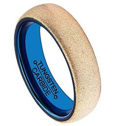 6mm Tungsten Ring Rose Gold Plated Matte Sandblasted Surface Blue Plated Inner Comfort Fit