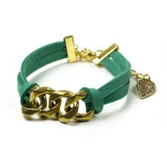 Micro suede bracelet in teal and gold - it's adjustable too!