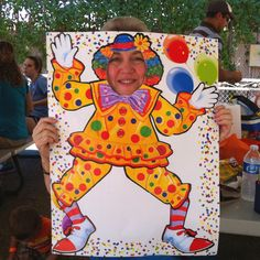 Photo booth idea for carnival birthday party - poster board cutout!