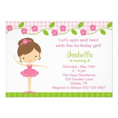 Ballerina Girl Birthday Party Invitations Announcements