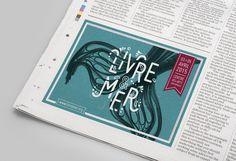 Design : Sophie Pertuisel • Livre & Mer • Annonce presse Editorial Design, Creative Art, Musée National, Design Inspiration, Brest, Positivity, Graphic Design, Surf, Page Layout