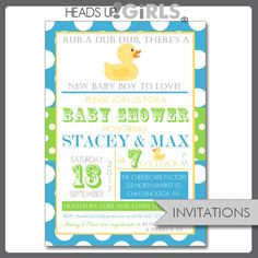 Set of 12 Personalized Aqua and Lime Green Rubber Duck Baby Shower Invitations by HeadsUpGirls, $18.00