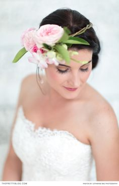 Stunning and simple headpiece with pink peonies. Photographer: Catherine Mac | Dress: Alana van Heerden - Fashion and Bridal Design | Earrings: Shelley & Harry | Bracelet: Dear Rae | Hair & Make-up: Helga Strydom | Flowers & Décor: Anli Wahl - Flowers & Event Styling |