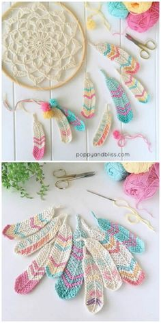 Crochet Stitches Tunisian Tunisian Crochet Feathers Free Crochet Pattern - You will discover how to crochet this beautiful Tunisian crochet feather pattern, as well as a crochet dreamcatcher to dangle your feathers from. Crochet Diy, Mandala Au Crochet, Crochet Gratis, Tunisian Crochet, Crochet Flowers, Crochet Ideas, Crochet Stitches, Crochet Dollies, Crochet Baby Toys