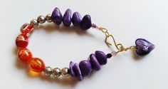 Purple and Orange Bracelet - Chunky Bracelet - Nugget Bracelet - Boho Chic…