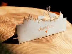 Laser cut name cards for a wedding