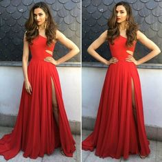 532b97ff25c A-Line One Shoulder Sweep Train Red Chiffon Prom Dress