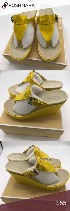 """Michael Kors wedge Michael Kors wedge shoes color yellow size 9. Never used 4"""" heels super cute and comfy. Great for summer looking for a new home. 🚫🚫No low ball offers and no trades 🚫🚫 Michael Kors Shoes Wedges"""