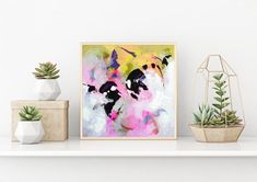 Buy the original art online. Modern abstract painting, acrylic colors on canvas board.This painting is handmade, original artwork. Bright Abstract Art, Abstract Wall Art, Pink Painting, Painting Art, Pink Wall Art, Small Paintings, Original Art, Canvas Board, Etsy