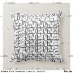 Shop White Black Geometric Offset Frames Throw Pillow created by LeonOziel. Custom Pillows, Decorative Throw Pillows, Succulents Diy, White Shop, Your Design, Frames, Black And White, Fabric, Color