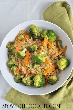 Make this Quinoa Vegetable Stir for a healthy dinner tonight. Start to finish less than 30 minutes. Vegan and gluten free. Great way to use up veggies.