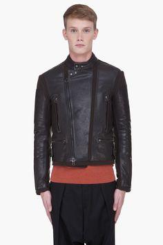 LANVIN Black Wool Trim Leather Jacket