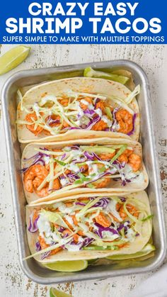 These Easy Shrimp Tacos are light, fresh, and so full of flavor! Simple and easy to make, they're ideal for a busy weeknight meal. Ripe Avocado, Frozen Corn, Kid Friendly Dinner, How To Cook Shrimp, Easy Weeknight Meals, Fresh Lime Juice, Shrimp Recipes, Food Print, Dinner Recipes