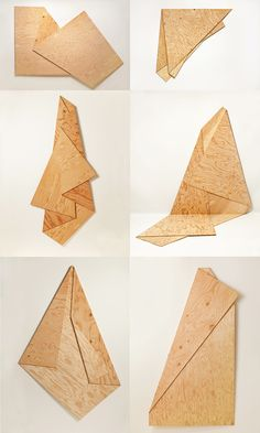 Folded sculptures made of plywood by Harry Roseman
