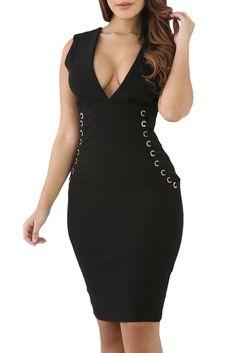 Robe Moulante Noire Col en V Sans Manches Lacets Elle Cote Pas Cher www.modebuy.com @Modebuy #Modebuy #Noir #me #femme #robes