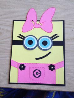 Girl Minion Birthday invitations with Envelope