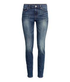5-pocket jeans in washed super-stretch dark denim with a regular waist and slim legs. | H&M Denim
