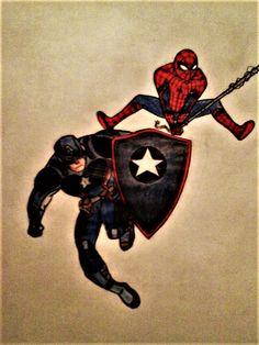 spiderman and captain America by aglowsnake93.deviantart.com on @DeviantArt