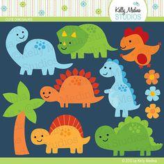 Los dinosaurios lindos verde amarillo naranja azul - Clip arte conjunto de elementos digitales para tarjetas, papelería y manualidades de papel y productos