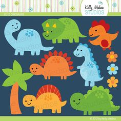 Cute Dinosaurs Green Blue Orange Yellow - Clip Art Set Digital Elements for Cards, Stationery and Paper Crafts and Products