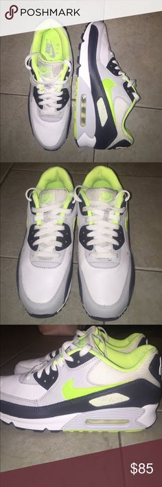 Nike air max 90 white grey black neon Nike air max 90s - men's size 8.5- white grey black neon - good condition - worn once - barely any wear on the bottom - small spots discoloration/dirty could be cleaned up - see last pic and small spots on shoe lace - easy fix Nike Shoes Sneakers