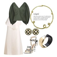 """""""Soigné"""" by engleann ❤ liked on Polyvore featuring Rosie Assoulin, Sophia Webster, Angela Cummings and Tiffany & Co."""
