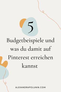 Pinterest ist ein super Marketing-Kanal für dein Online Business. Wenn du als Selbstständige überlegst, mit deinem Business auf Pinterest zu starten, dann ist es gut zu wissen, welche Kosten dabei auf dich zukommen. Auf dem Blog bekommst du einen Überblick über die verschiedenen Budgets und was du damit auf Pinterest erreichen kannst. erfolgreich selbstständig | Online Marketing Tipps | Pinterest für Unternehmen #alexandrapolunin Budget, Content Marketing, Online Business, Super, Chart, Blog, Advertising Campaign, Good To Know, Concept