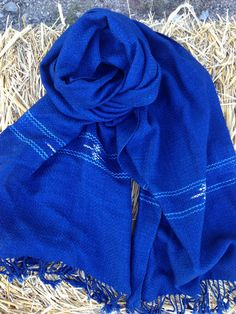 Natural Dye Indigo Blue Cotton Check Scarf from by AmkenShop