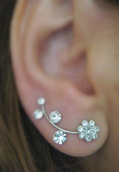 Just bought this! Ear Sweep Wrap - Cuff Earring with Swarovsky - Flower | blucky - Jewelry on ArtFire