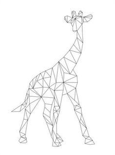 Geometric Giraffe Art Print by paintxprint Origami Tattoo, Tape Art, Geometric Drawing, Geometric Shapes, Geometric Animal, Geometric Giraffe Tattoo, Triangle Art, 3d Pen, Geometric Designs