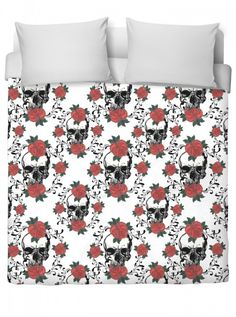 """""""Red Roses And Skulls"""" Duvet Cover by Inked (White) #InkedShop #InkedMag #Red #Roses #Skulls #Duvet #Cover"""