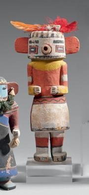 KACHINA Rugan danseur maïs Hopi, Arizona, Cottonwood, pigments, plumes vers 1920 Ht 24,5 cm