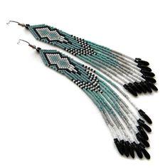 Long Beaded Earrings Beadwork Jewelry Seed Bead by Anabel27shop