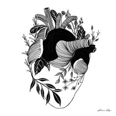 #corazón #plantas #vegetación #hennkim #henn #art #illustration #drawing #sketch #black #white #pen #inspire #creative #society6 #artprint #print