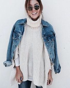 oversized knits and denim jackets