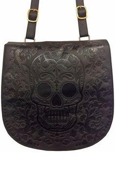 Black Skull Crossbody Large Bag by Loungefly