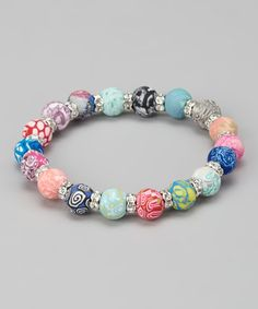 Take a look at this Pink Magical Multi & Silver Classic Crystal Stretch Bracelet by Viva Beads on #zulily today!