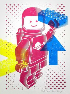 Hello Lego SpaceBoy 3 color Screen Print 18 x 24 by byAndreas on Etsy, $50.00