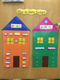 Who is here today? Students move name from home to school to take ownership over attendance every AM. Preschool Attendance Chart, Classroom Attendance, Attendance Board, Preschool Charts, Creative Curriculum Preschool, Preschool Rooms, Preschool Bulletin Boards, Kindergarten Classroom, Toddler Preschool